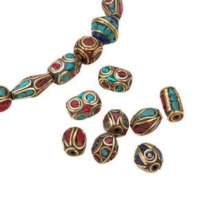 Image 4 - 50 stücke Retro Gebet Nepal Perlen Handgemachte Rote Koralle Tibetischen Lose Perlen Charms Für DIY Schmuck Machen Halsketten Armbänder