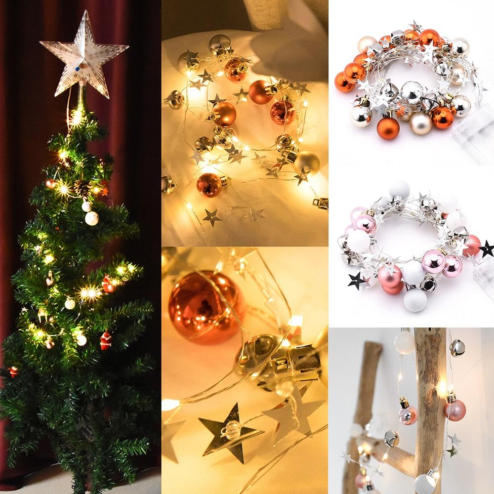 Christmas Lights Led Indoor  Christmas Tree Decorations  LED String Light  Vintage Fashion Balls Stars Bells LED Fairy Lamp D35
