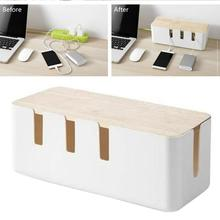 Storage-Box Cable Charger Socket-Finishing-Organizer Wooden-Cover Desktop White