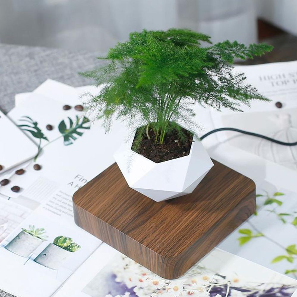 Levitating Air Bonsai Pot Levitating Plant Pot Floating Plant Pot with Artificial Potted Plant Magnetic Levitation Suspension Base 360 Degree Rotation Flower Pot Planters for Home Desk Decor