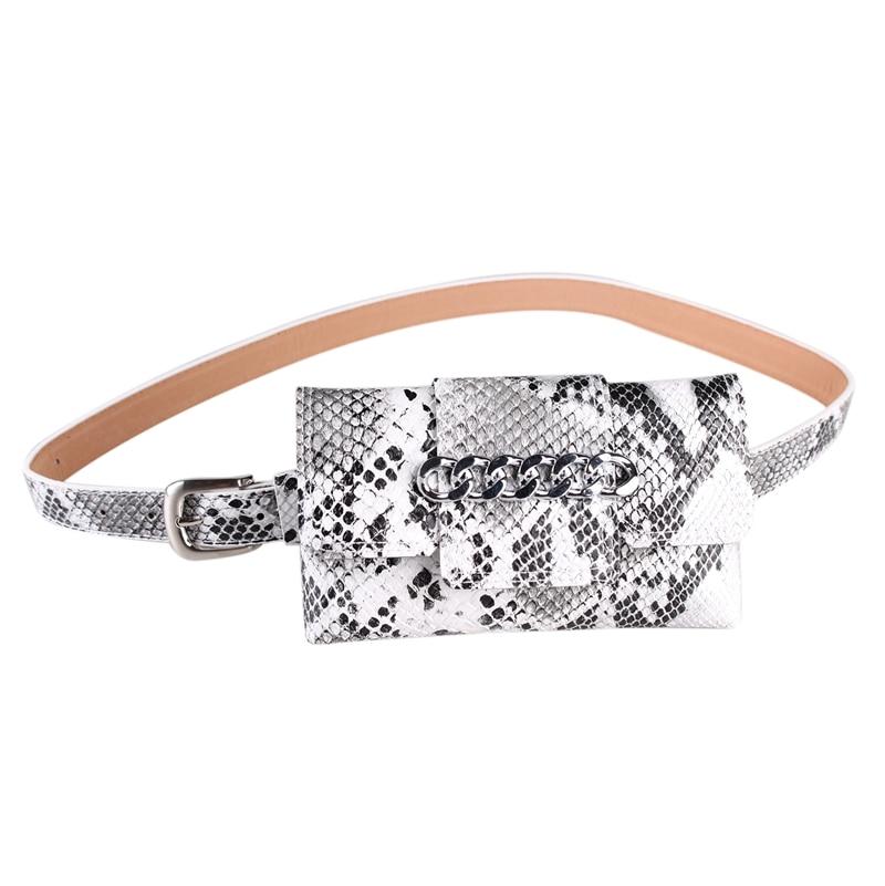 Fashion Waist Bag Chain Serpentine Alligator Detachable Belt Bag Pu Leather Women Fanny Pack Buckle Pocket Phone Money Holder