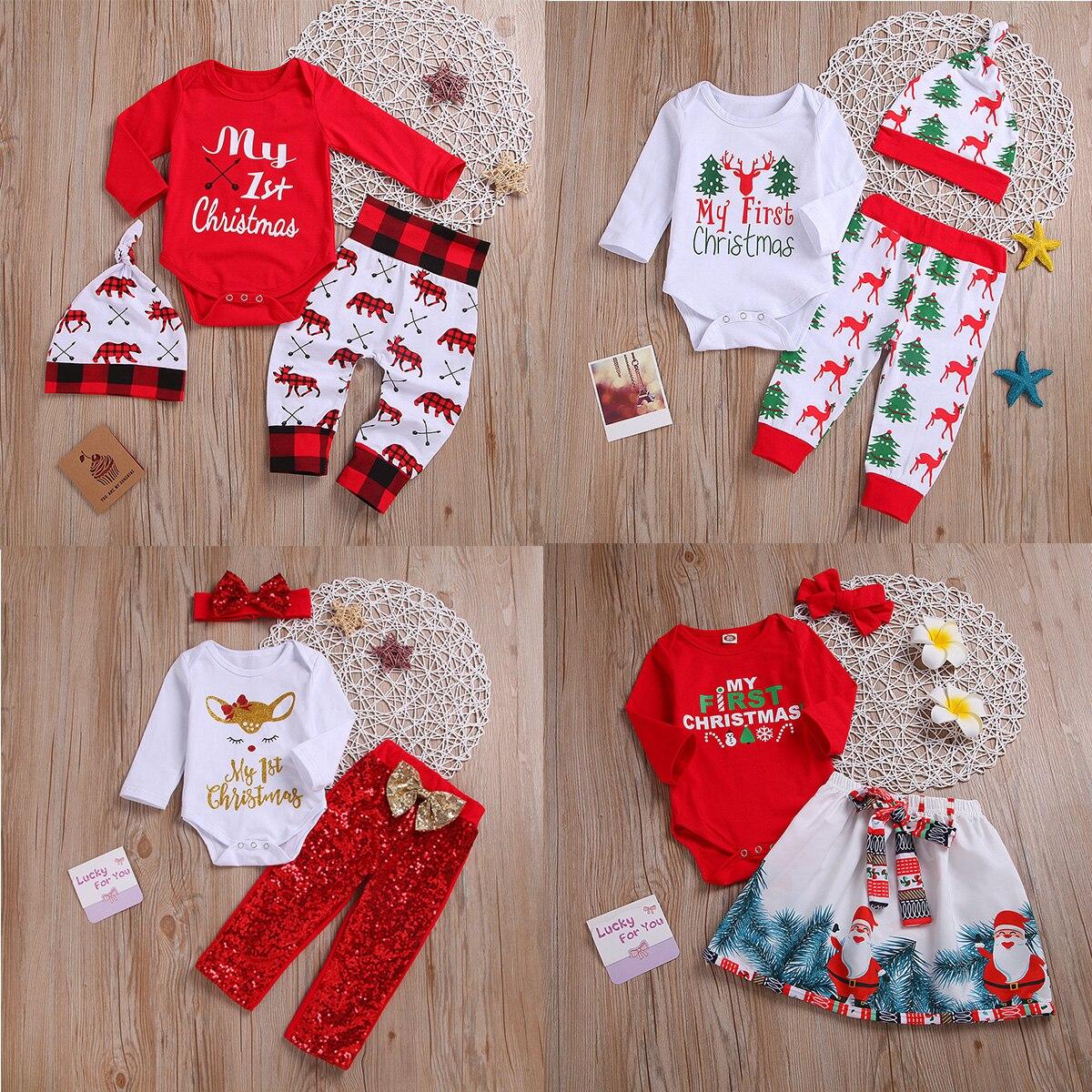 Toddler Baby Girls Christmas Clothes Outfits Set 1-5 Years Old 3Pcs Kids Cartoon Santa Dress Pants Headbands