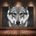 Настенная картина с головой волка, постер с дикими животными в скандинавском стиле, черная и белая Картина на холсте, домашнее украшение ком...