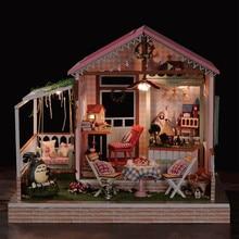 A022 Rahmen Einladung Karte Traum Park DIY Puppe Haus Handgemachte Handwerk Mini Totoro Puppenhaus Holz Gebäude Kits Große Rosa Villa