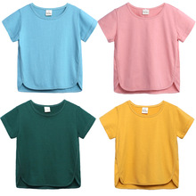 Summer 2009 Cotton Solid Short-sleeved Bordered Casual Childrens Pure T-shirt for Boys and Girls
