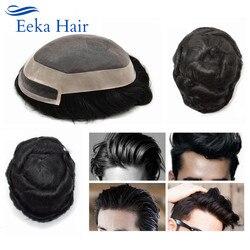 P1-3-5 perucas de cabelo preto e durável de média densidade mono peruca de cabelo fino para homens mono cabelo humano