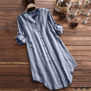 womens tops and blouses Fashion Long sleeve woman shirts casual Button Up Pullover Cotton Striped Top Plus Size Tunic Blouse(China)
