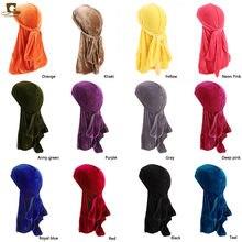 Unisex mężczyźni kobiety oddychająca chustka kapelusz aksamitna Durag do doo du rag długi tren headwrap czepek dla osób po chemioterapii