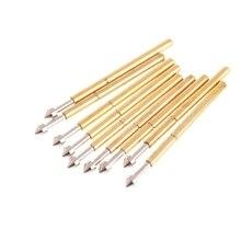 OOTDTY 100 pièces plaqué or ressort Test sonde Pogo broche 1.3mm tête conique 1.0mm dé à coudre pour outil électrique P75 E2