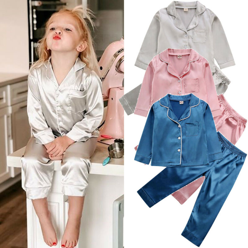 Childrens Kids Pyjamas Silk Satin Tops Pant Autumn Winter Long Sleeve Sleepwear Nightwear Girl Boy Pajama Sets 1
