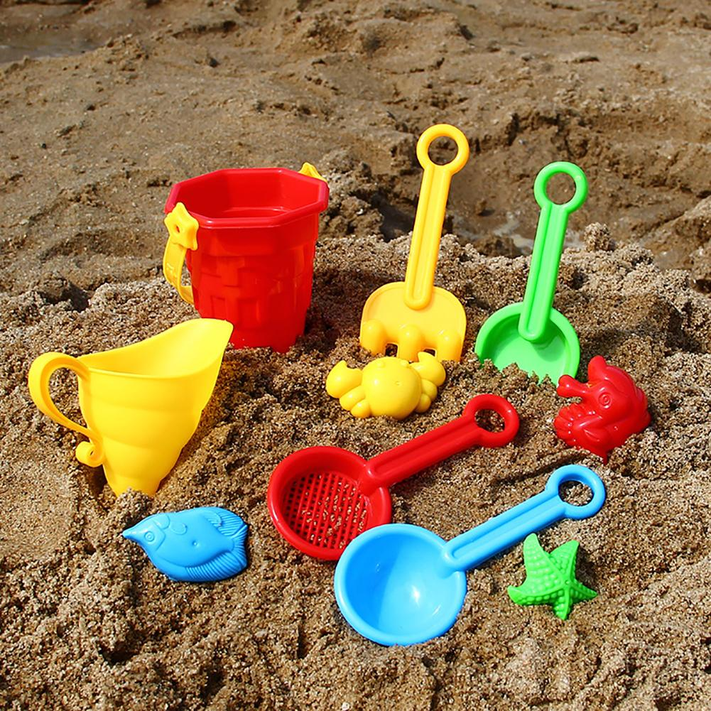 Kids Sand Beach Toys Castle Bucket Spade Shovel Sandbox Rake Water Tools Set Molds Funny Tools Non-toxic And Durable Beach Toys
