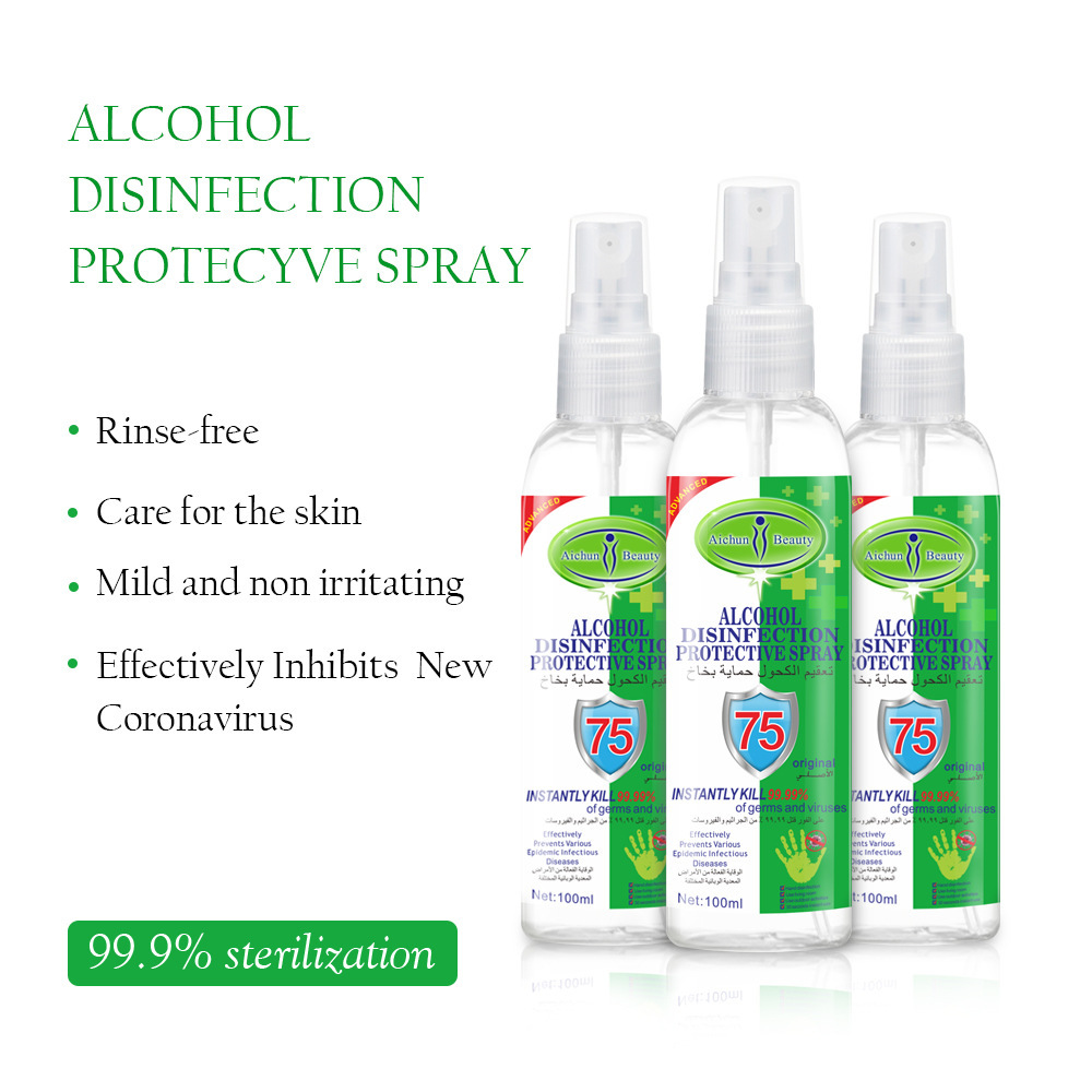 192PCS DHL 100ml Disinfection Rine-free Hand Sanitizer 75% Alcohol Spray Portable Disposable Prevention Hand Sanitizer 2