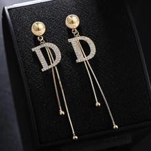 Luxury Long Tassel D Letter Big Drop Earrings For Women Crystal Snake Chain Earring Fashion Jewelry Statement 2020