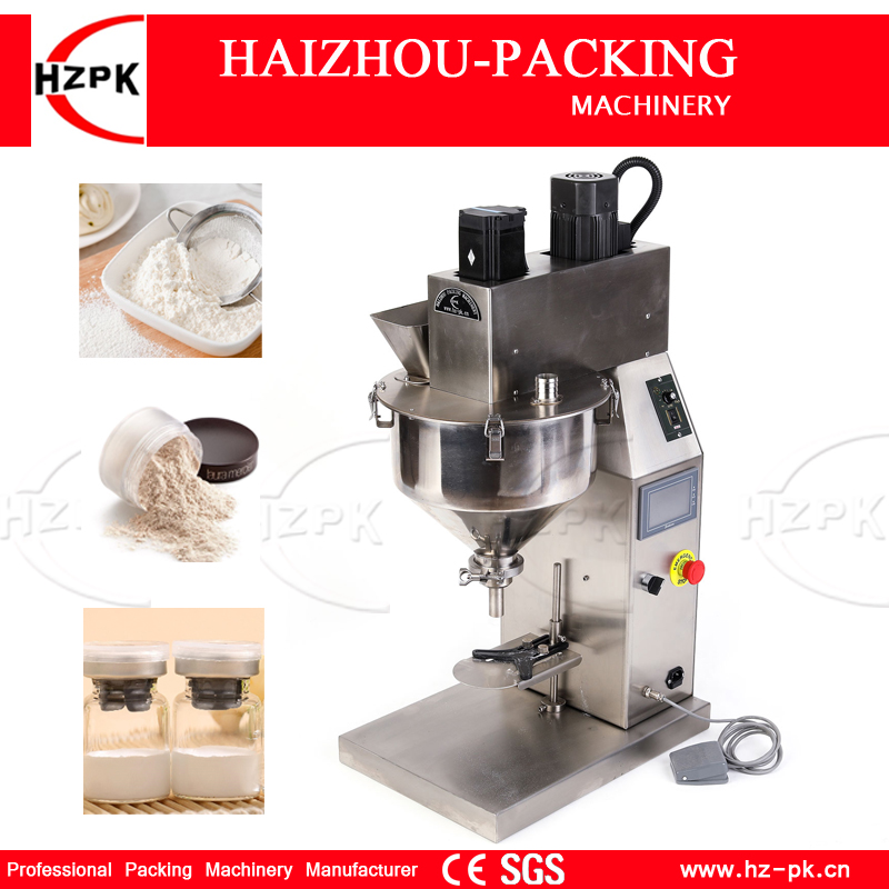 HZPK The Newest Machine Benchtop Powder Filling Machine For Rice/Face Powder Desktop Mini Filling Equipment With Touch Screen