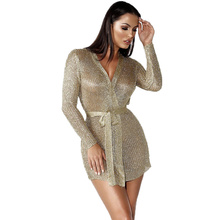 купить 2019 New Long Sleeve Dress Women Bodycon Dress Low-cut Sexy Dress Cardigan Rose Gold Nightclub Sexy Sweater V-neck Women Clothes по цене 1036.24 рублей