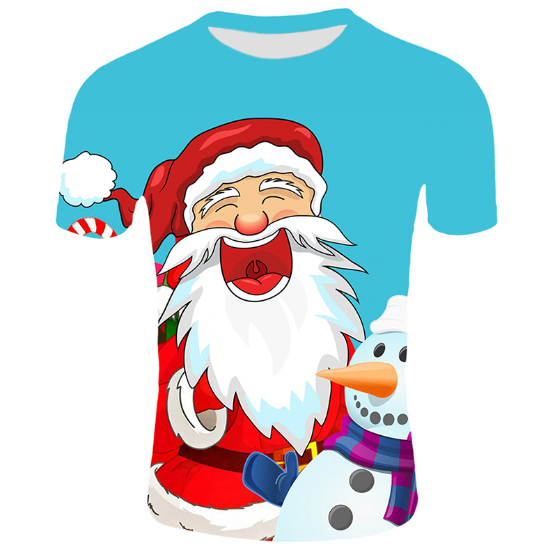 Модные футболки с рождественским узором, мужские Забавные футболки с принтом Санта-Клауса, повседневные 3d футболки, вечерние футболки со снеговиком, одежда с коротким рукавом - Цвет: T10