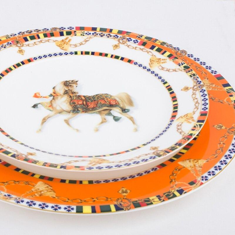 Service de table en céramique de Style européen | De qualité supérieure, incrustation en or, assiette à Dessert en porcelaine, salade de Steak, Snack assiettes à gâteaux, vaisselle artistique