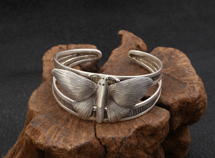 S925 sterling silver personality retro jewelry fashion Thailand handmade silver wide version butterfly open bracelet free shippi