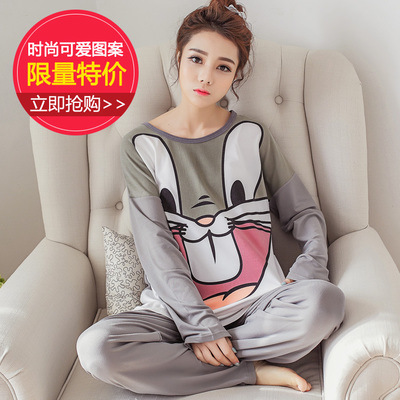 New Style WOMEN'S Pajamas Thin Type For Spring And Autumn Large Size Tracksuit Long Sleeve Trousers Two-Piece Set