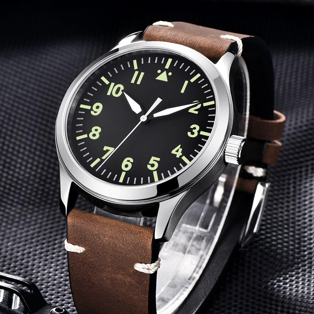 Mode Corgeut militaire hommes automatique de luxe marque Sport Design horloge en cuir auto vent miborough 8215 montres mécaniques