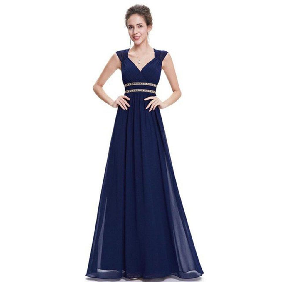 Dressv dark blue v neck crystal elegant   evening     dress   a line sleeveless wedding party formal   dress     evening     dresses