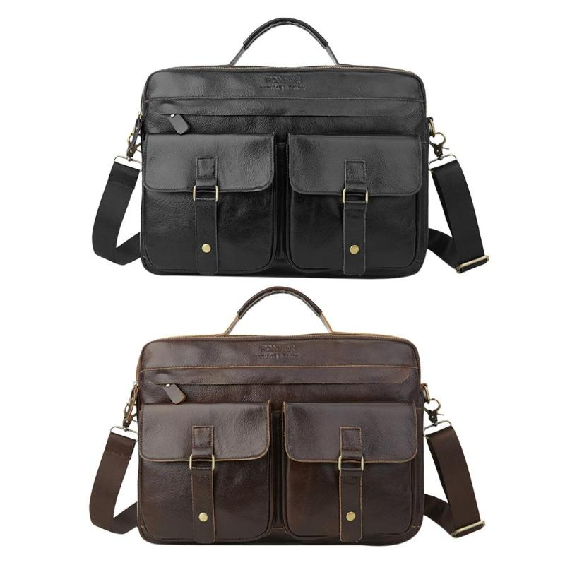 Men Genuine Leather Briefcase Zip Messenger Shoulder Bag Business Handbags