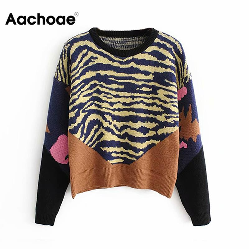 Aachoae Women Knitted Pullover 2020 Casual Patchwork Sweater Spring O-neck Loose Knit Warm Jumper Female Long Sleeve Pullover
