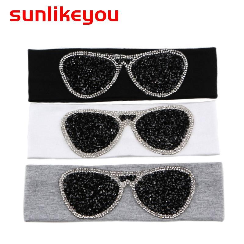 Sunlikeyou Newborn Turban Baby Headband Rhinestone Glasses Cotton Elastic Hair Band For Girls Accessories