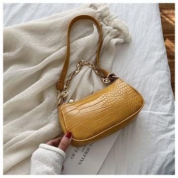 Fashion Crocodile Pattern Baguette bags MINI PU Leather Shoulder Bags For Women 2020 Chain Design Luxury Hand Bag Female Travel - Yellow