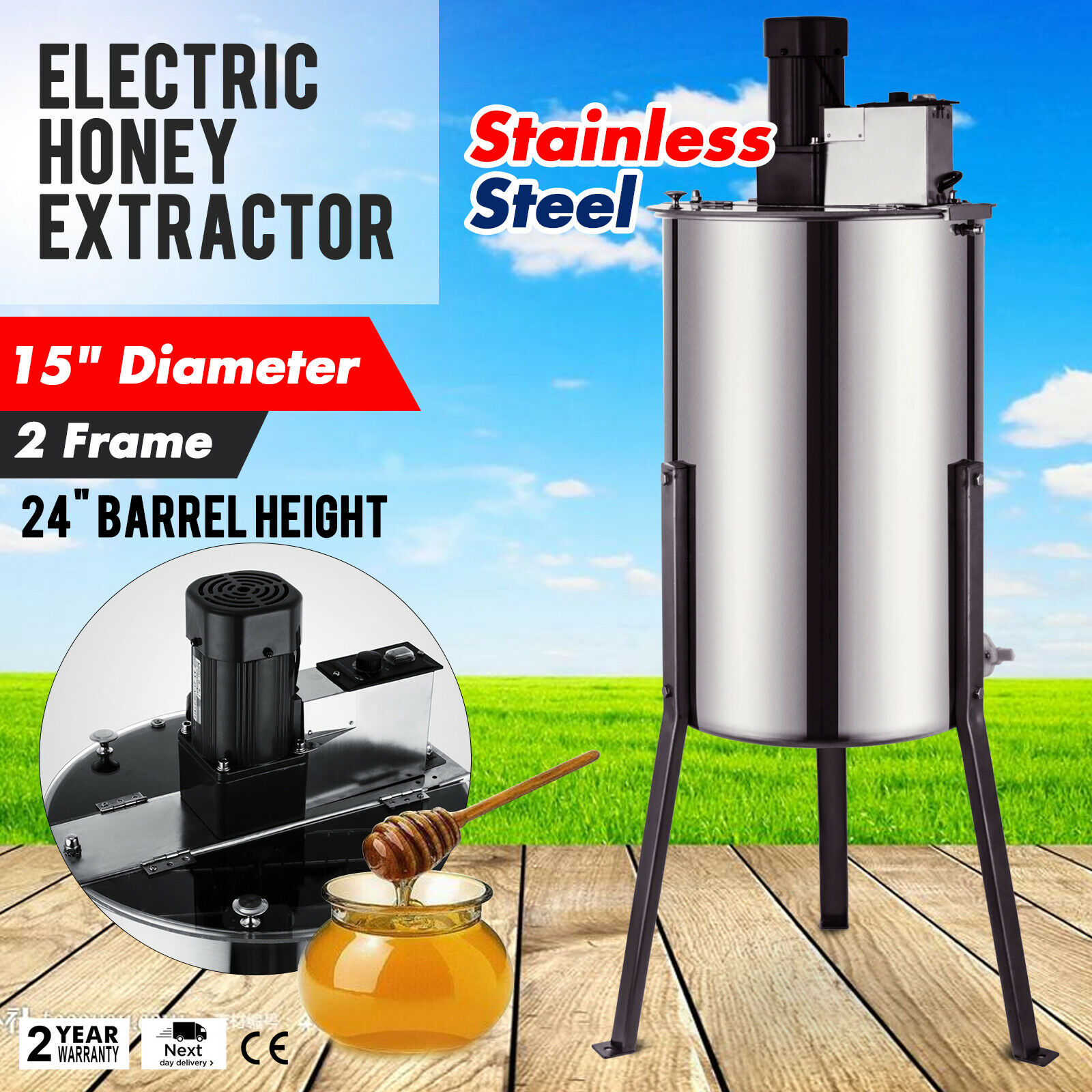 Brand New Large Two 2 Frame Stainless Steel Electric Honey Extractor