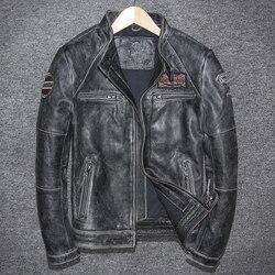 Vintage Echtem Leder Jacke Männer Kuh Leder Jacke Koreanische Motorrad Schlanke Herren Leder Jacke Jaqueta De Couro 5680-1 YY999