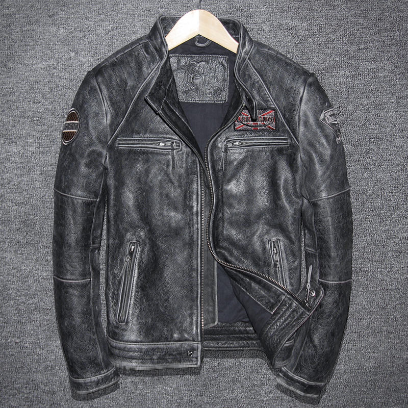 Vintage Genuine Leather Jacket Men Cow Leather Jacket Korean Motorcycle Slim Mens Leather Jacket Jaqueta De Couro 5680-1 YY999