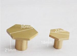 Gold Antique Brass Hexagon Knobs Cabinet Knob Handle Dresser Knobs Drawer Pulls Kitchen Furniture Hardware(China)