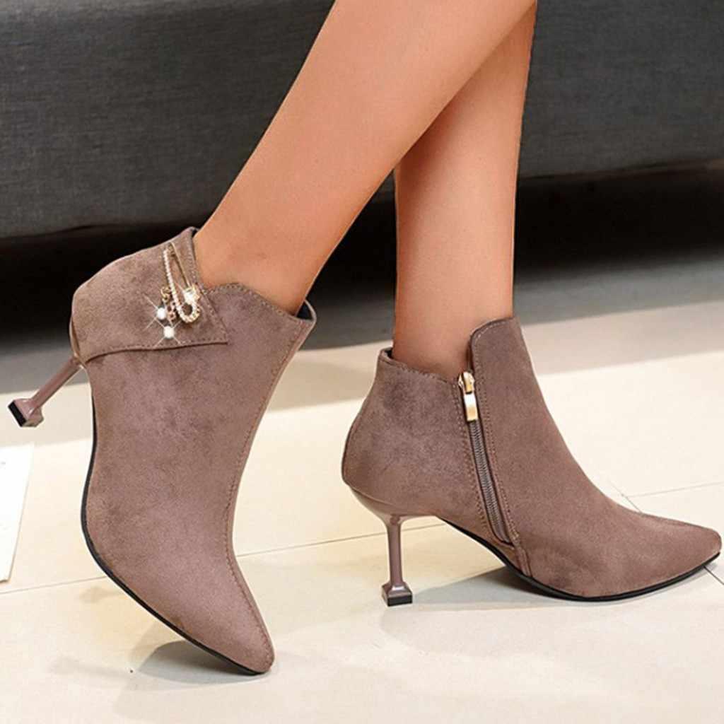Kadın kış ayakkabı ayak bileği patik süet üst ile Kneeth akın ince yüksek topuklu sivri burun elmas Padent seksi çizmeler # YY