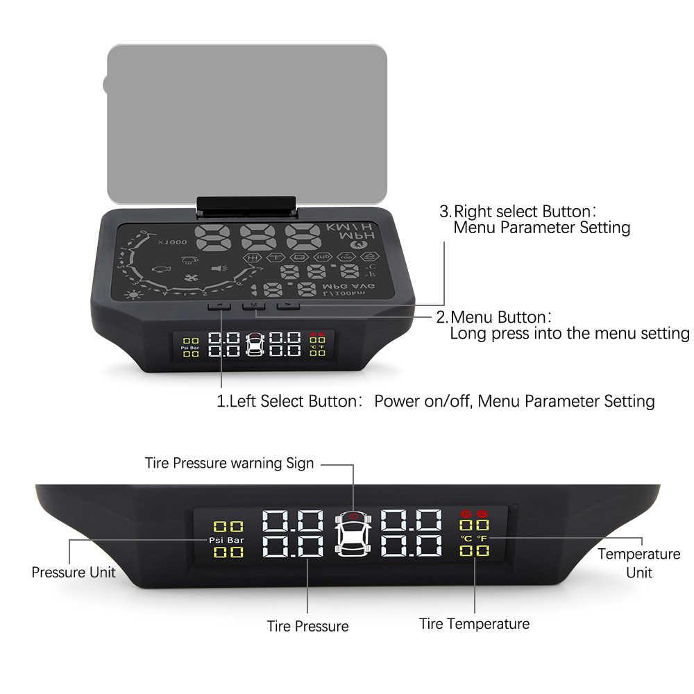 Đầu Lên Màn Hình HUD-X30 Với TPMS 2 Trong 1 OBD OBD2 Màn Hình Hiển Thị Trên Xe Hệ Thống Giám Sát Áp Suất Lốp Bluetooth Cảm Biến TPMS với HUD