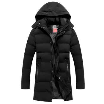 Men's Mid-length Outdoor Cotton-padded Clothes Cardigan Hooded Autumn And Winter Warm Cold Cotton-padded Clothes Jacket