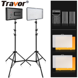Travor Led Studio Licht 2 Set Video Licht Met Statief Dimbare 5600K Professionele Fotografie Camera Licht Led Verlichting