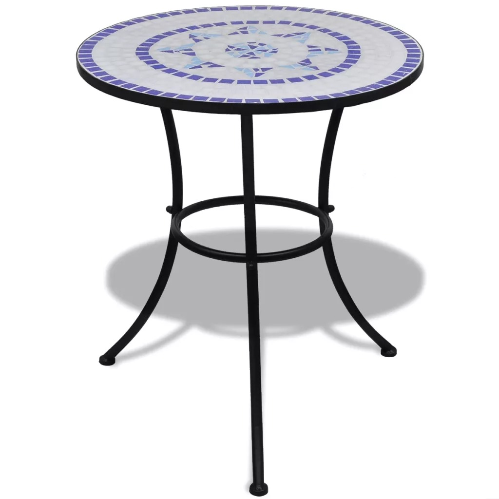 Vidaxl Iron Frame Mosaic <font><b>Table</b></font> 60cm Courtyard Outdoor <font><b>Cafe</b></font> <font><b>Table</b></font> Weatherproof For Balcony Garden Easy To Assemble V3 image