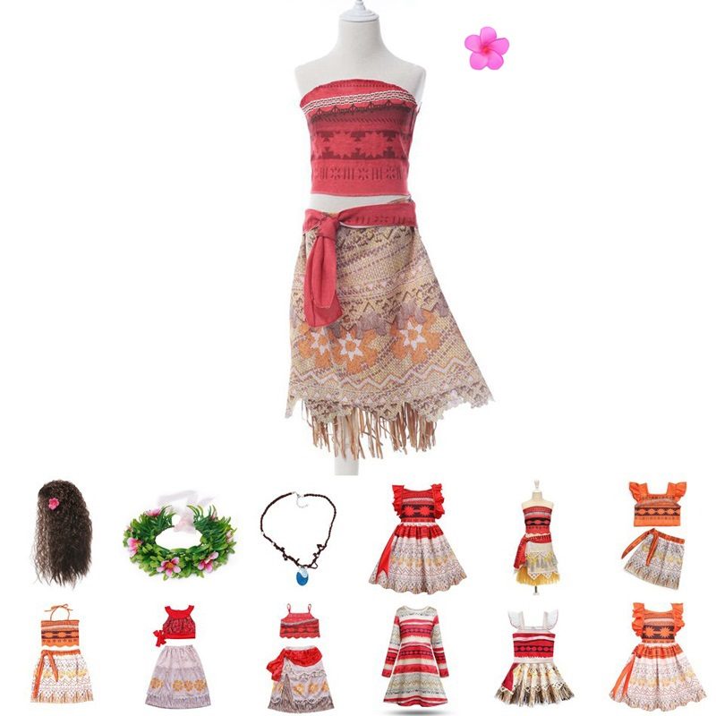 MUABABY Moana-Dress Princess-Costume Kids Clothes Adventure Vaiana Little-Girls Summer