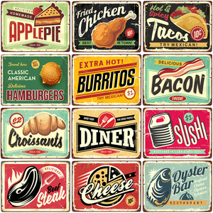 Fried chicken,cake,cheese, beef steak, becon,tecos,burritos metal sign vintage tin plate painting wall decoration for restaurant(China)