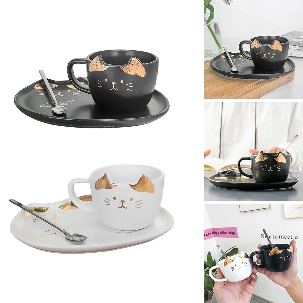 Creative Cat Ceramics Coffee Mug Set Handgrip Animal Mugs With Tray Drinkware Coffee Tea Cups Novelty Milk Cup For Home Kitchen