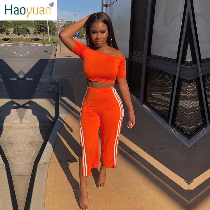 HAOYUAN Striped Two Piece Set Tracksuit Festival Short Sleeve Crop Top+Pants Sweat Suits Birthday Outfits Sexy 2 Piece Set Women