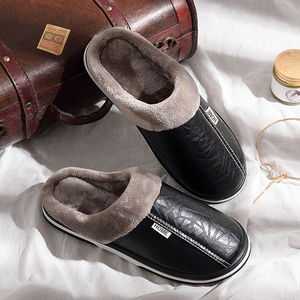 Image 2 - ASIFN Men Slippers Indoor Leather Winter Waterproof Warm Home Fur Women Slipper Male Couple Platform Shoes Fluffy Big Sizes