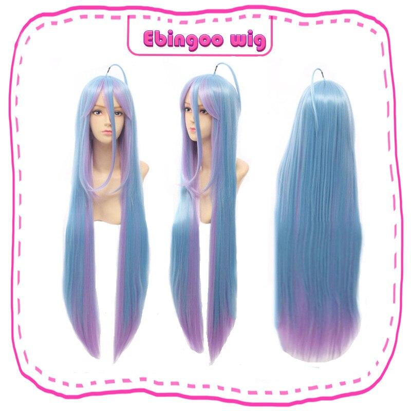 Ebingoo Hair Cap+No Game No Life Shiro Natural Long Straight 2 Tones Blue Purple Mix Synthetic Cosplay Wig For Halloween