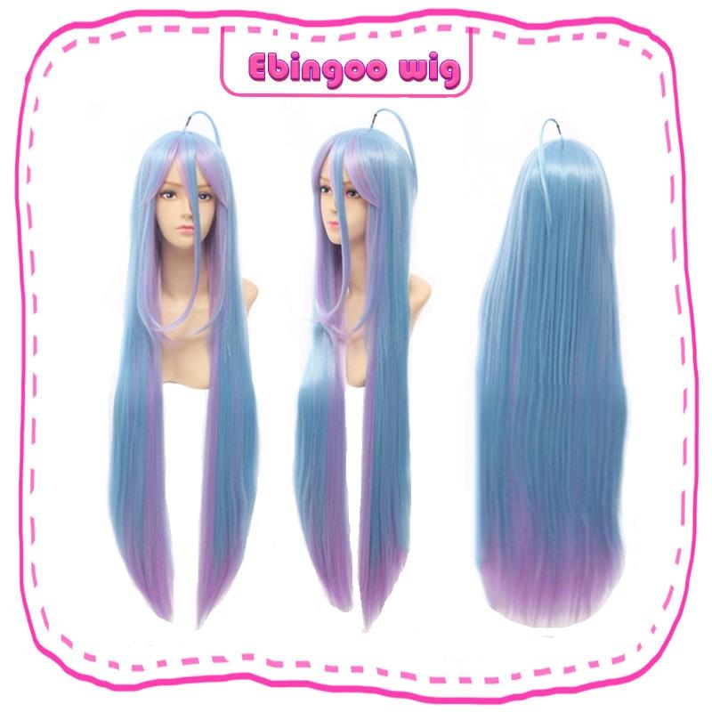 Ebingoo Hair Cap+No Game No Life Shiro Natural Long Straight 2 Tones Blue Purple Omber Synthetic Cosplay Wig For Women Halloween