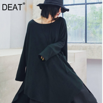 DEAT Vintage Batwing Full Sleeve O Neck Black Loose Oversize Irregular Women Fashion T Shirt 2020 Autumn Winter New Female TD312
