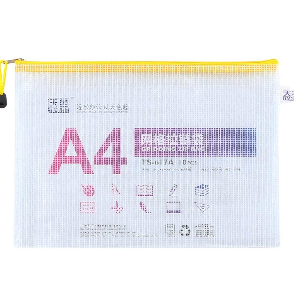 TIANSE Thickened A4 File Bag Grid Transparent Zipper Bag Waterproof PVC Test Paper Bag Student Stationery Bag 10pcs