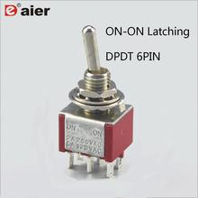 10Pcs Toggle Switch ON/ON Latching DPDT Mini Rocker Switches MTS-202 6A 250VAC 6 Pin With Solder Terminal цена