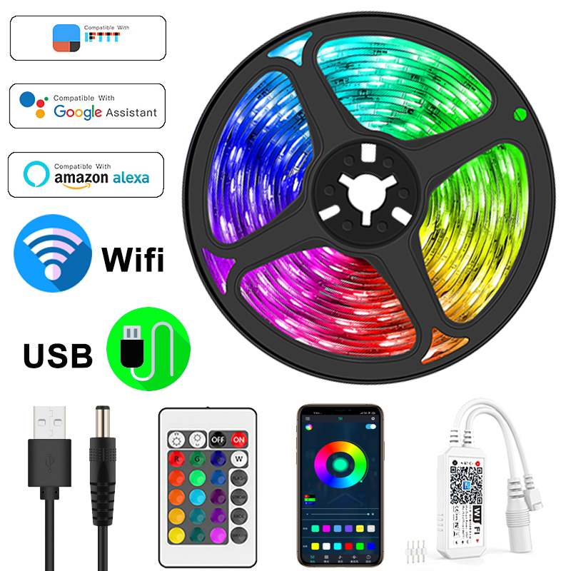 USB Led Strip Lights WIFI Controller Flexible RGB 5050 BackLight Lamp TV Room Wall Decoration Flexible Neon Tape Work with Alexa