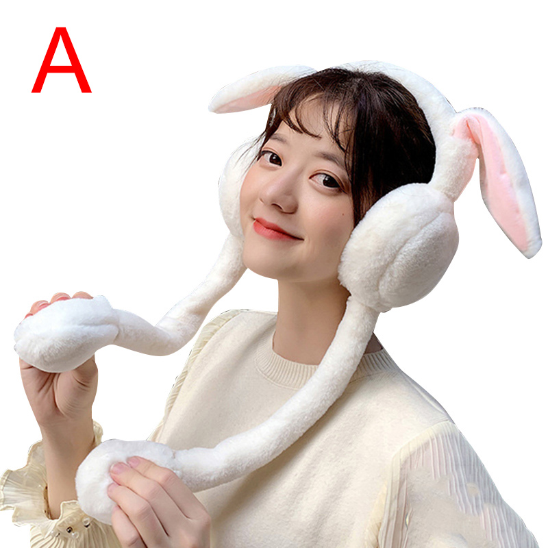 Newest Cute Women Earmuffs Warm Can Move Airbags Cap Plush Dance Rabbit Ear Autumn Winter